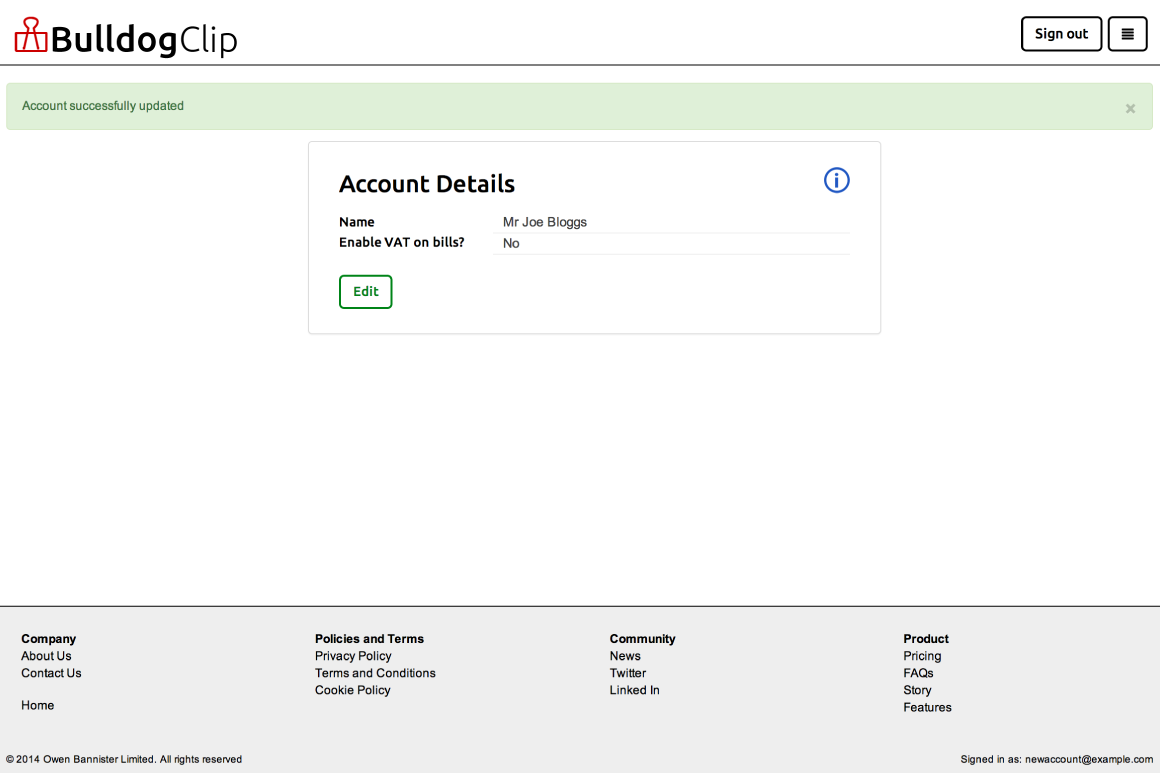 Account details edit form