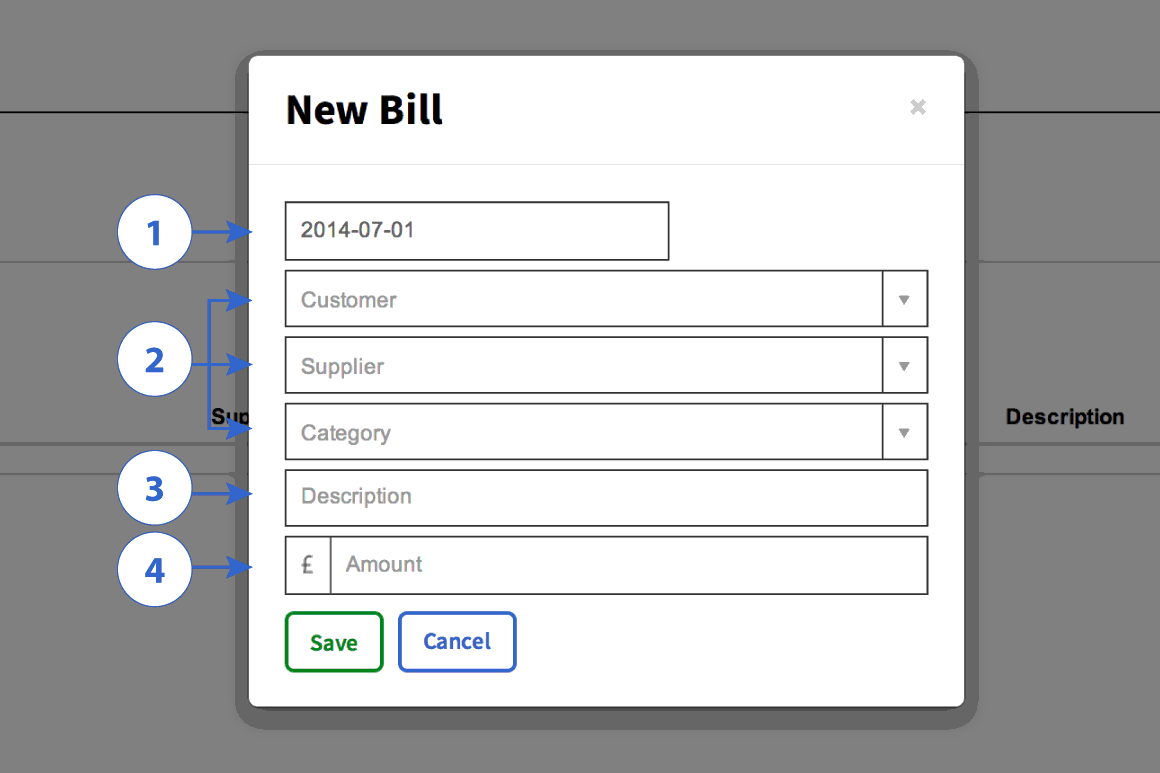 New bill form