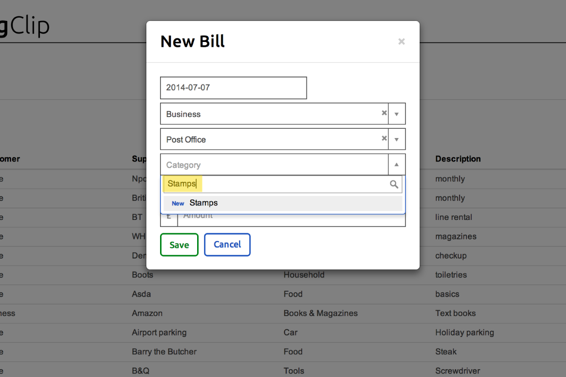 Adding a new category in the New Bill form