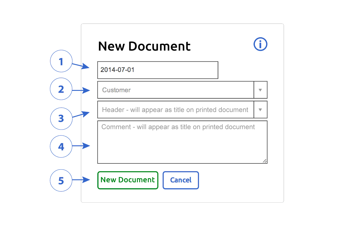 Create Document form