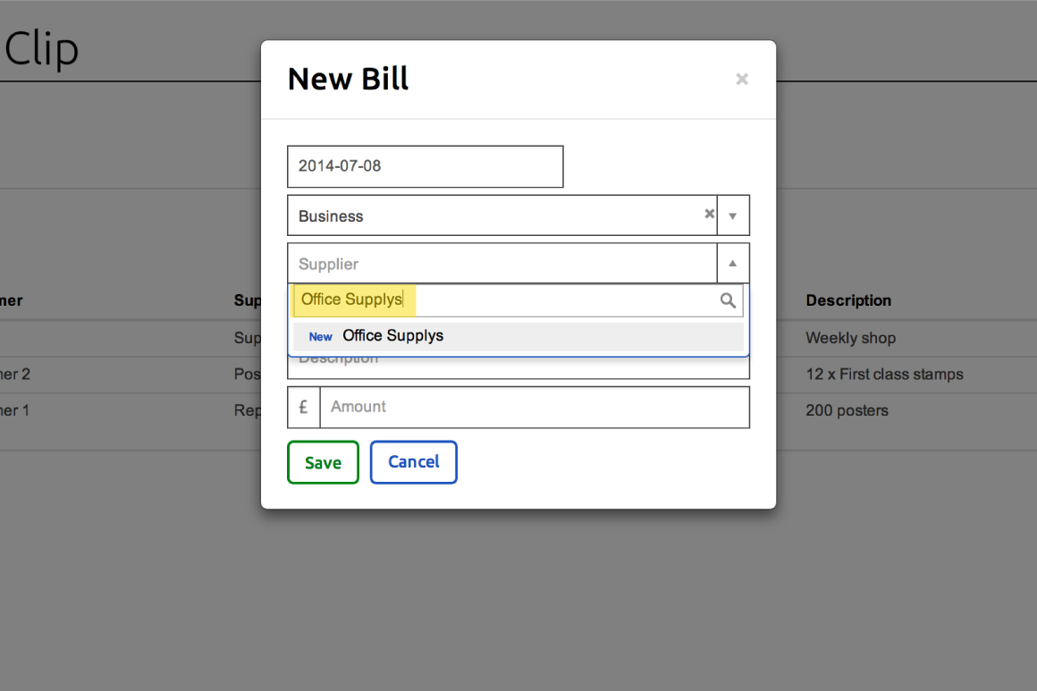 Adding a new supplier in the New Bill form