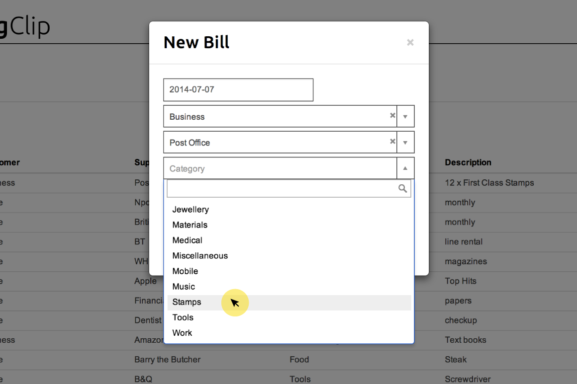 Selecting a category from dropdown menu in New Bill form