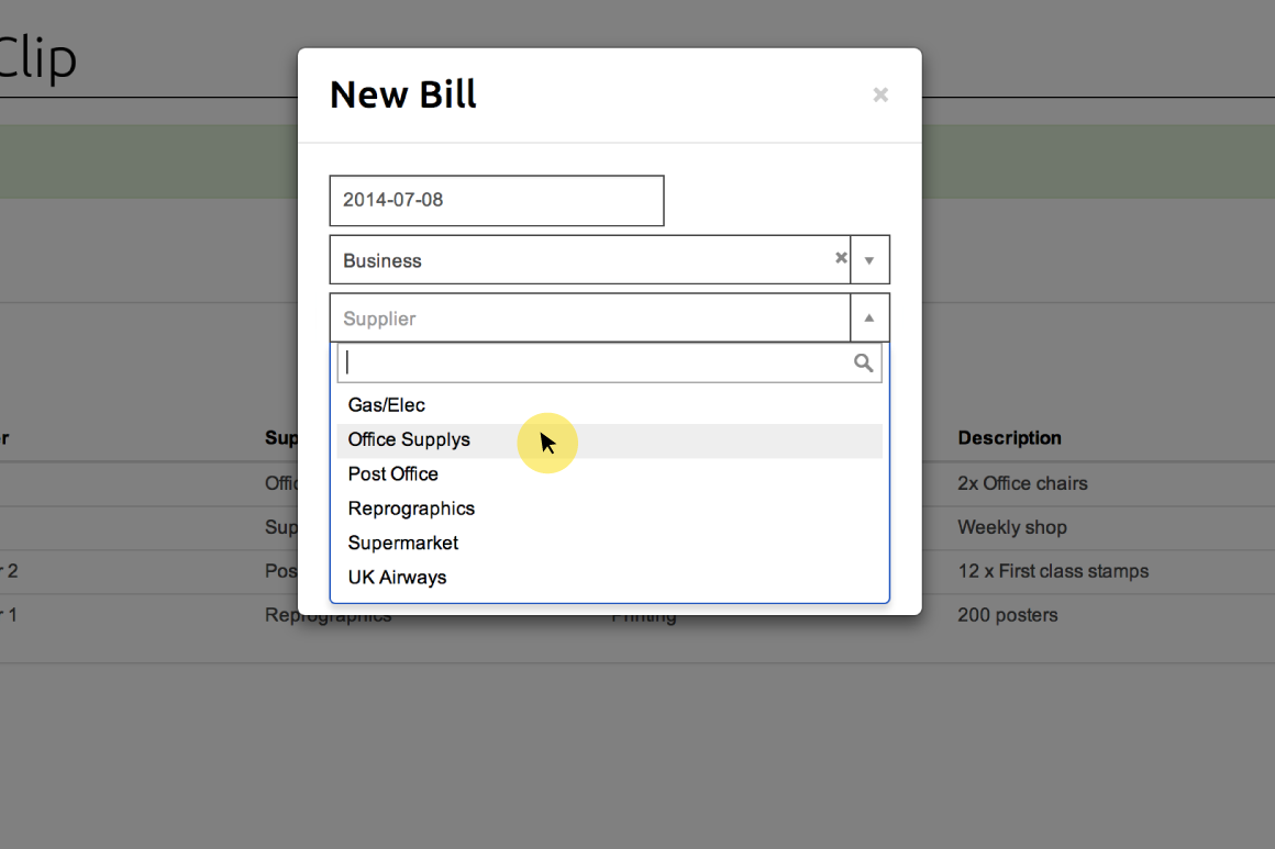 Selecting a supplier from dropdown menu in New Bill form