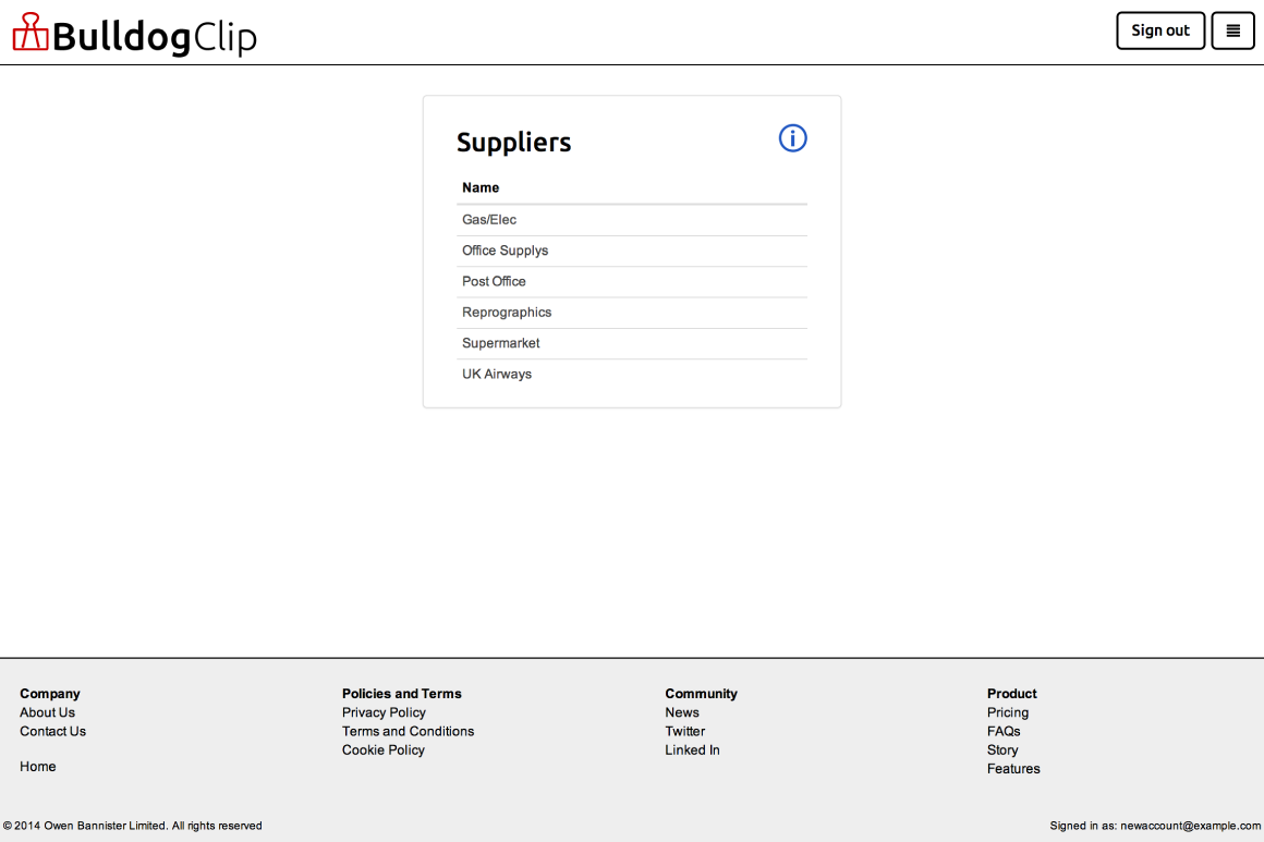 List of suppliers