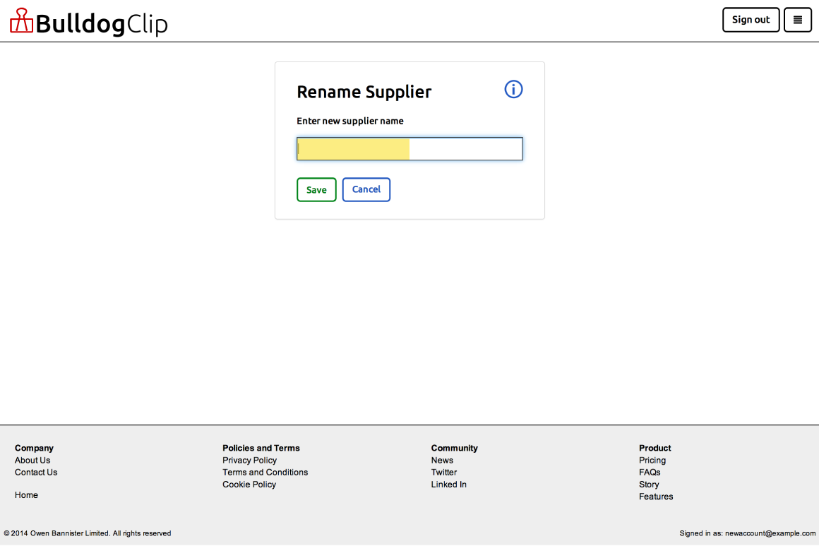 Rename supplier form